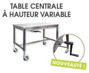 Table inox centrale à hauteur variable