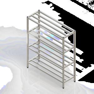 Casier à batterie inox avec étagères barreaudées