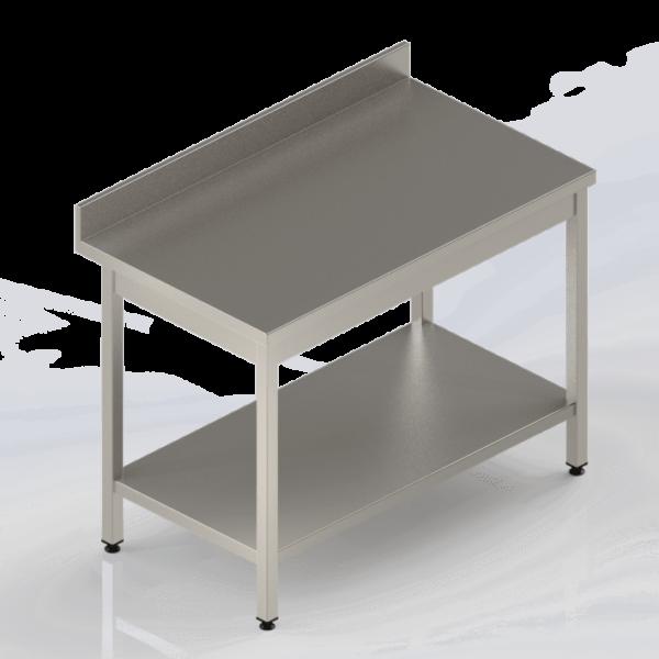 Table en inox adossée avec étagère pour cuisine professionnelle ou laboratoires