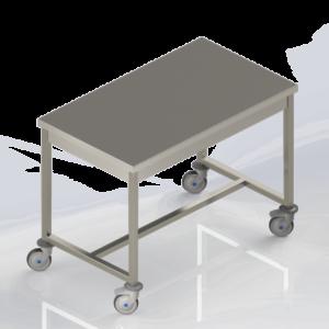 Table de travail inox centrale à roulettes mobile pour la restauration et le médical