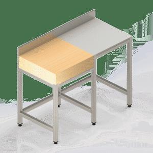 Table Inox Poly Bois Adossée pour Cuisine Professionnelle