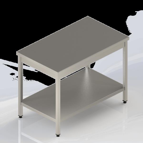 Table de travail en inox centrale avec étagère pleine