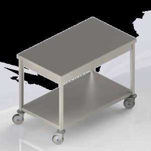 Table de travail en inox centrale avec étagère et roulettes