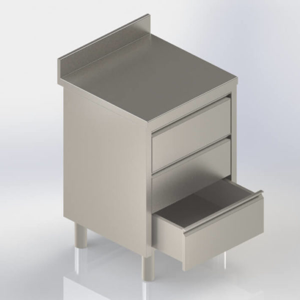Bloc tiroirs rangement inox