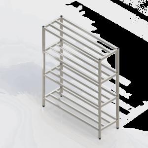Casier batterie inox avec étagères barreaudées