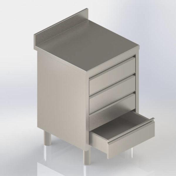 Meuble de rangement bloc tiroirs inox