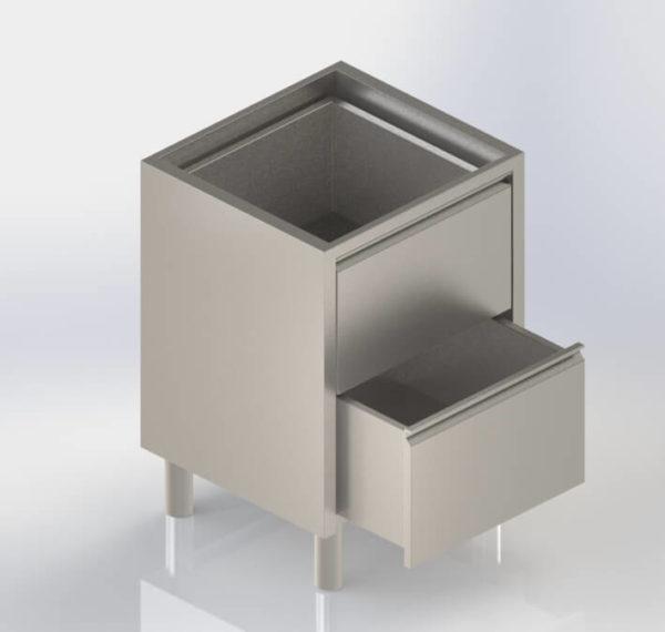 Meuble bloc tiroirs inox sans dessus