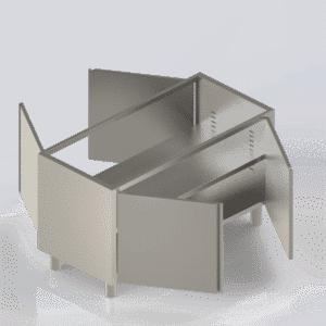 Meuble inox bas professionnel avec 4 portes sans dessus