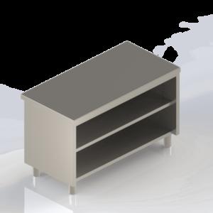 Meuble inox professionnel bas ouvert avec étagère
