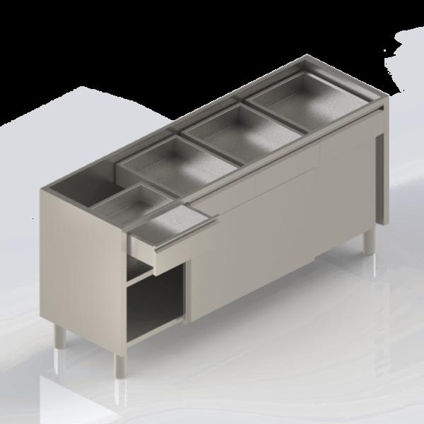 Meuble inox professionnel bas avec tiroirs