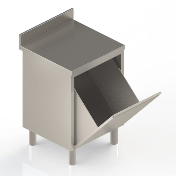 Meuble de rangement modulaire en inox adossé