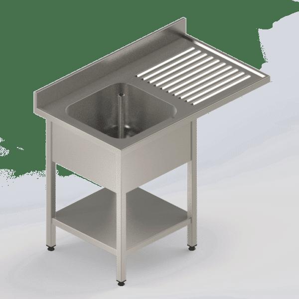 Plonge inox professionnelle avec étagère et emplacement pour lave-vaisselle