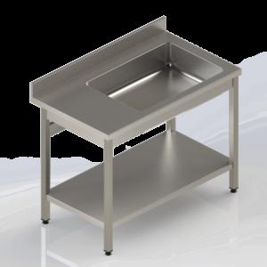 Table déboitage inox adossée avec étagère