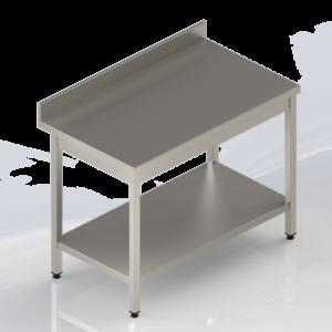 Table de travail en inox adossée avec étagère pleine