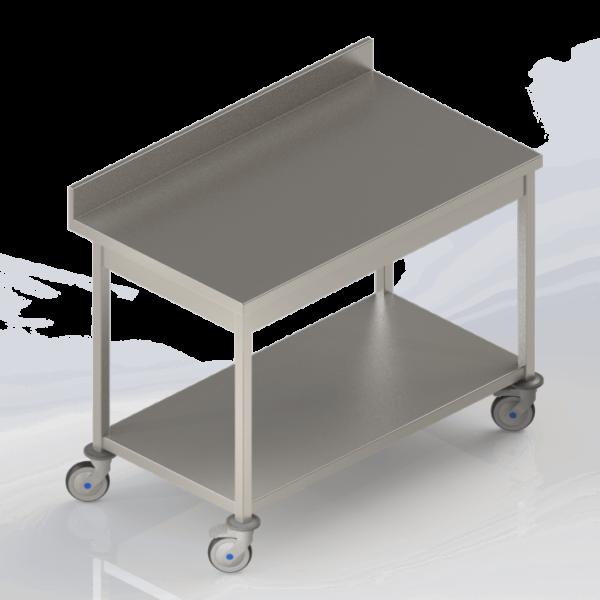 Table de travail inox adossée mobile à roulettes avec étagère pleine