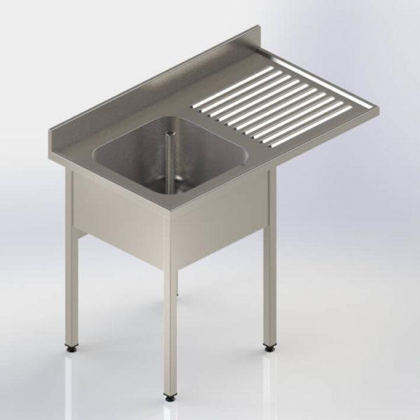 Plonge avec emplacement pour lave-vaisselle à pieds carrés